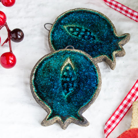 Turquoise Pomegranate Christmas Ornament