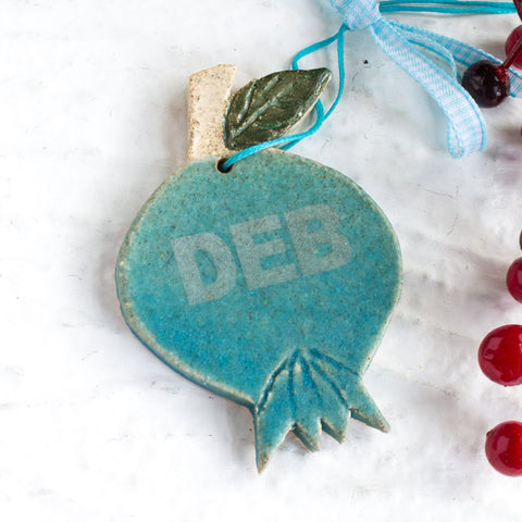 Personalized Turquoise Blue Pomegranate Christmas Ornament