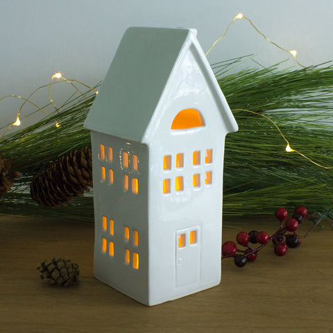 Slim and tall chalet White Putz House Candle Holder luminary