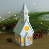 White Church Candle Holder, chalet Putz House lantern, Christmas decor