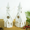 White Putz House Village lantern, set of 2 houses and a Church Candle Holder, chalet Christmas decor