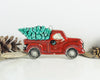 Red truck with tree, Holiday decor Christmas tree ornament, rustic woodland vintage Ford ceramic pickup truck