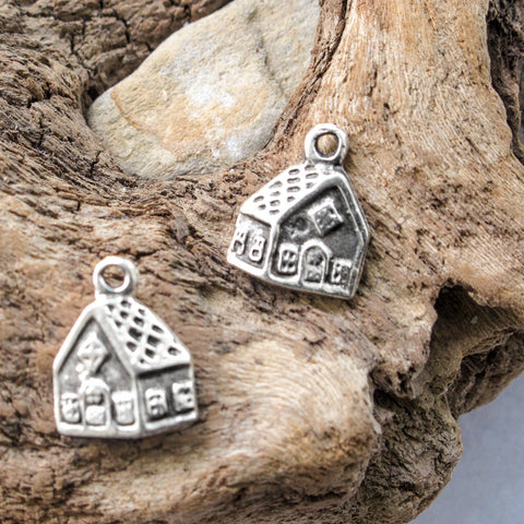 Gingerbread Woodland House, Double Sided Greek Mykonos Antique Silver Metal Charm Pendant