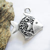 Greek Mykonos Casting Fancy Fish Pendant, Pewter Metal Bead Large Charm Silver Plated  (1 piece)