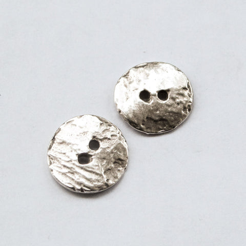 Cornflake button textured bead, Antique Silver plated Mykonos Casting (4 pcs)