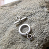 Greek Mykonos Simple Toggle Clasp, Antique Silver Jewelry Unique Metal Craft Supplies (2 sets)