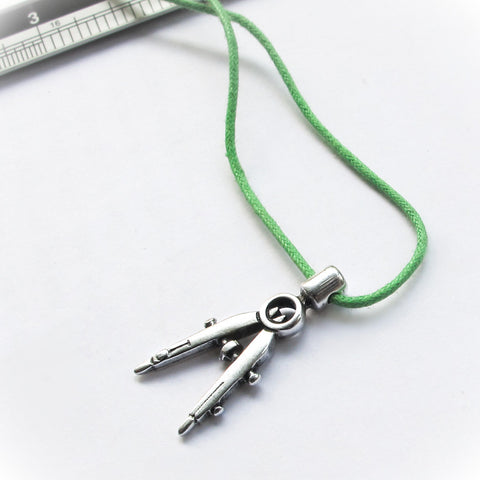 Greek Geometry Drafting Compass Pendant, Silver Charm Mykonos Greece Back to School