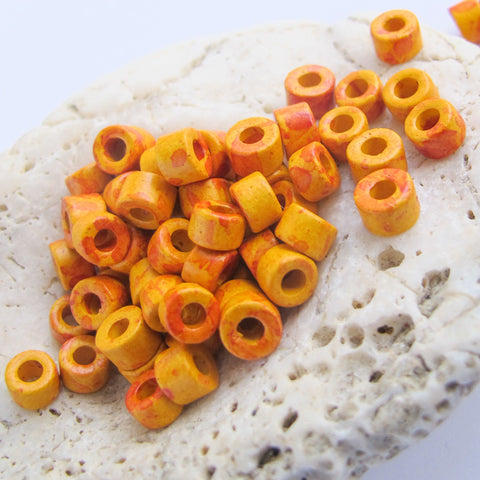 Mykonos Greek Ceramic Mini Tube Beads, 30 speckled orange yellow, 6X4mm