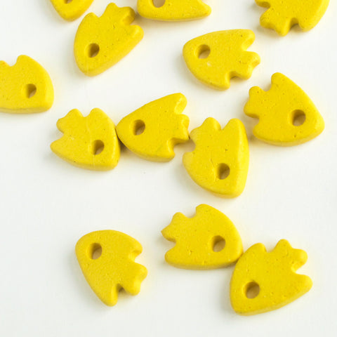 Mykonos Ceramic Fish, Greek Tiny Beads, Bright Yellow (10 pack) MB15