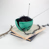 Green Turquoise Ceramic Yarn Bowl, Emerald Greenery Pantone Leaf Yarn Holder