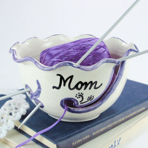Personalized White / Purple Ruffled Ceramic Yarn Bowl