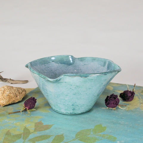 Blue Green Ceramic Twist Bowl Crackle Luster
