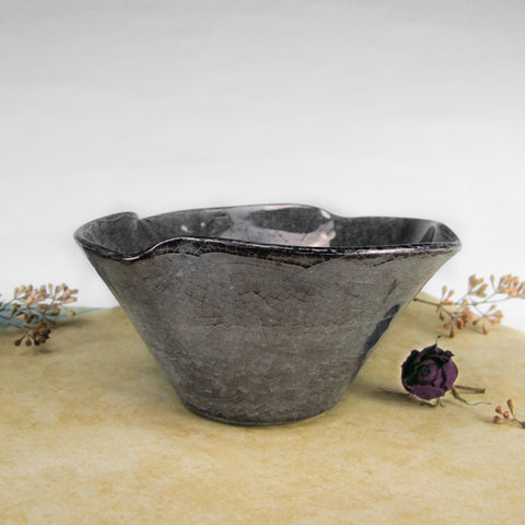 Twist Ceramic bowl in Smokey Platinum Black Crackle Luster