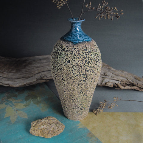 Wheel thrown Textured Oval Ceramic Bottle / Vase
