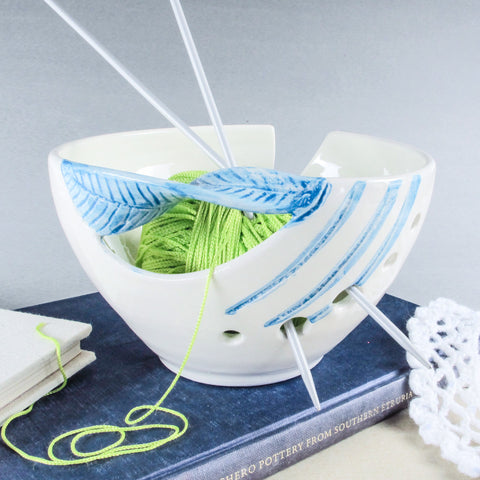 Fresh White Yarn Bowl, Light Sea Blue Twisted Leaf