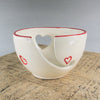 White Yarn Bowl with Red Outlined Hearts, Portable Traveling Knitting Crochet Bowl