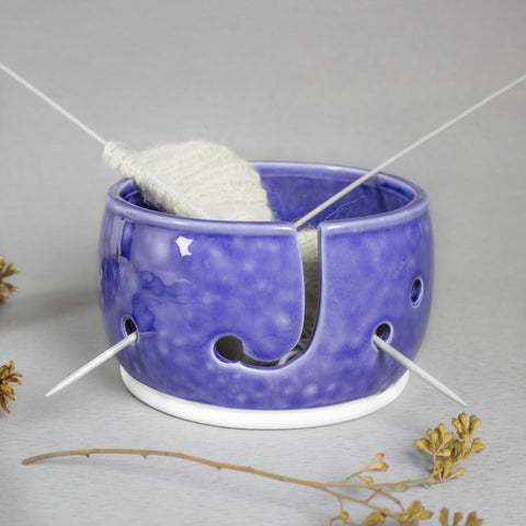 Cobalt Blue Yarn bowl, Light Frothy Blue, Knitting Bowl, Yarn holder by BlueRoomPottery