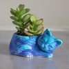 Kitty planter, ceramic succulent planter, handmade pottery planter Velvet Purple