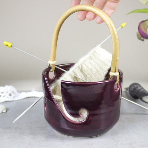 Purple ceramic Yarn Bowl, Large Pottery knitting Bowl with handle