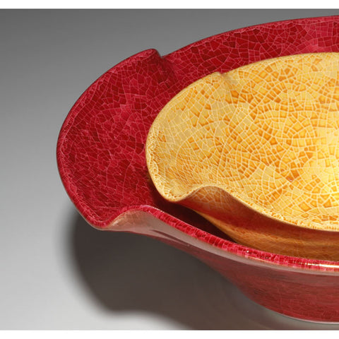 Large Red Ceramic Twist Bowl Crackle Luster