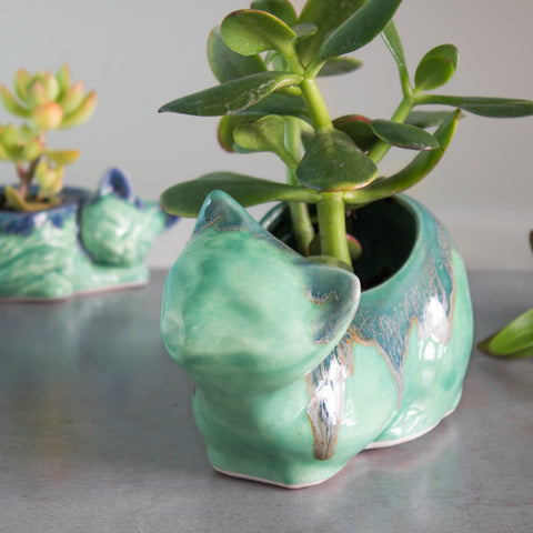 Ceramic mama cat planter, pencil holder, succulent air plant