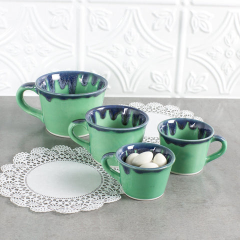 Set of 4 Mint Green / Blue Drips Ceramic Measuring Cups