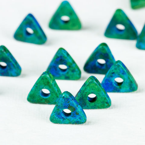 Triangle Ceramic Beads Geometric Washer 10mm Mykonos Greek Beads, 24 Aegean Blue
