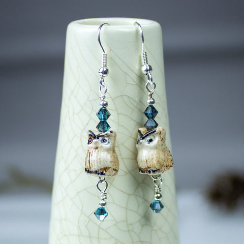 Ceramic owl Earrings, Blue Swarovski jewelry crystals