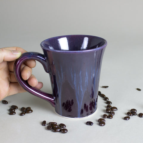 Purple ceramic coffee cup modern mug hand made by for Coffee mug craft kit