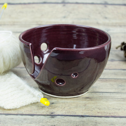 Yarn bowl, Knitting Bowl, Petite Eggplant purple Small Ceramic Yarn holder, Crochet Portable bowl