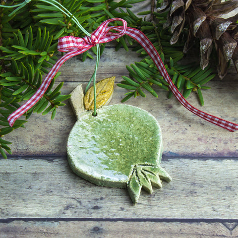 Green Ceramic Pomegranate Christmas Ornament