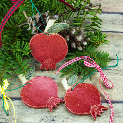 Red Ceramic Pomegranate Christmas Ornament