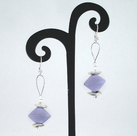 Purple Puff Flower Ceramic Earrings