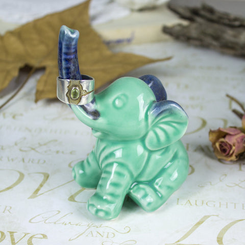 Elephant ring holder Lucky Elephant mint pastel jewelry Ring Holder Ceramic Green