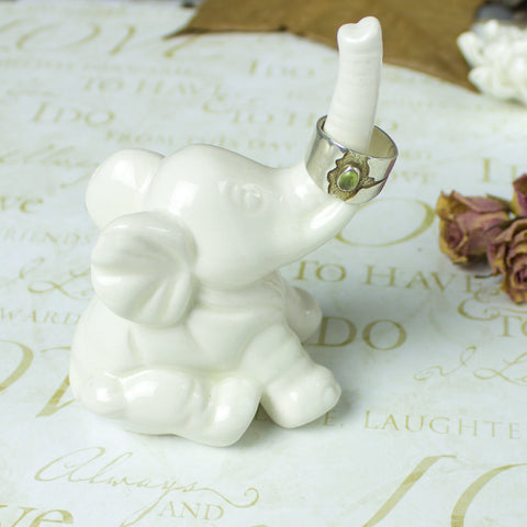 Elephant ring holder Lucky Elephant white jewelry Ceramic Ring Holder handmade pottery