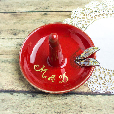 Riby Red Personalized Ring Holder