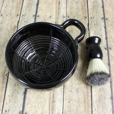 Wet Shaving Mug Black Ceramic Shave Cup Handmade Pottery BlueRoomPottery