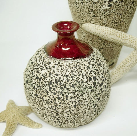 Ceramic Textured Bottle Bud Vase