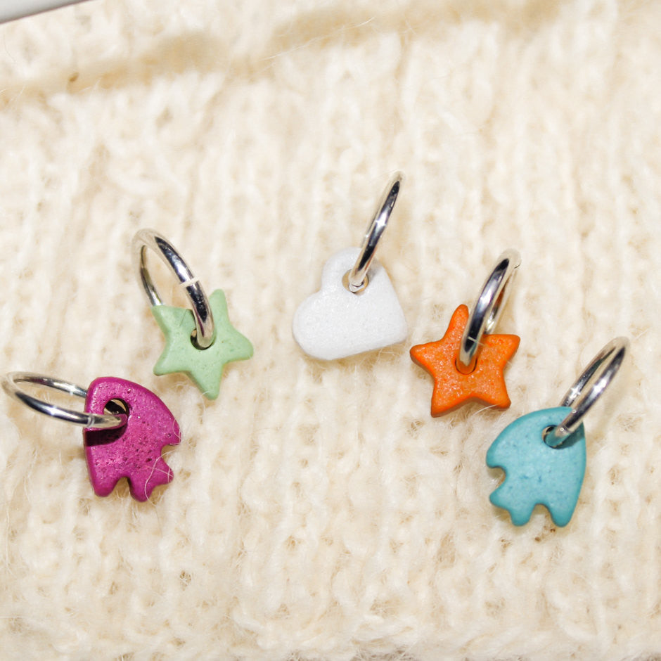 Colorful Knitting Stitch Markers 5 Ceramic Spring Colors Charms