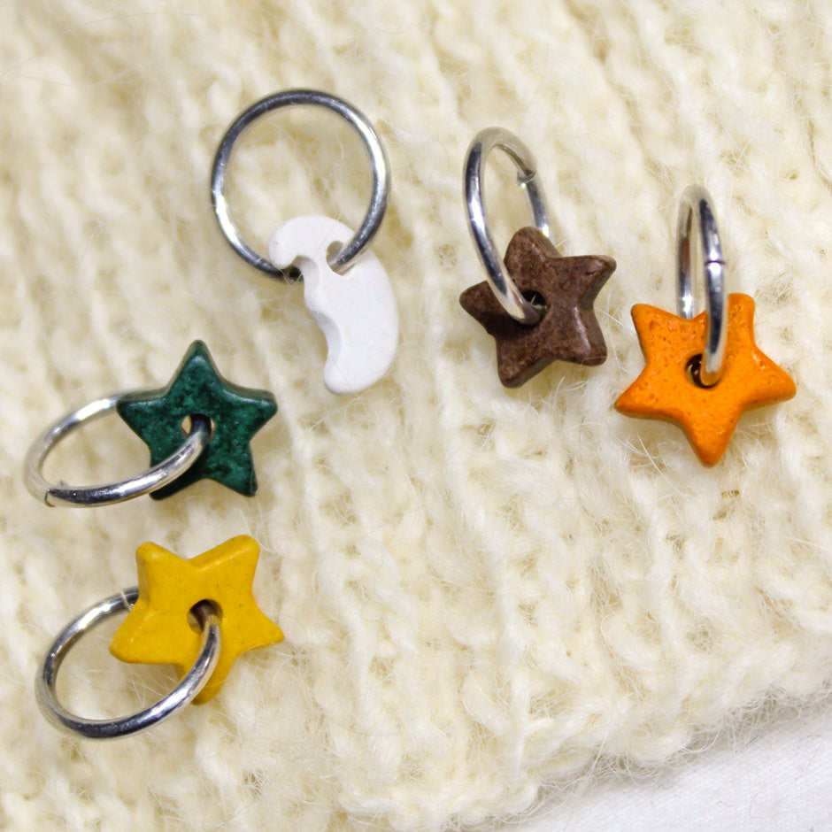 Colorful Knitting Stitch Markers 5 Ceramic Celestial Charms Crochet