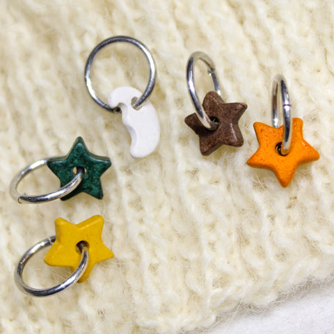 Colorful Knitting Stitch Markers, 5 ceramic celestial charms Crochet Yarn Stitchmarker