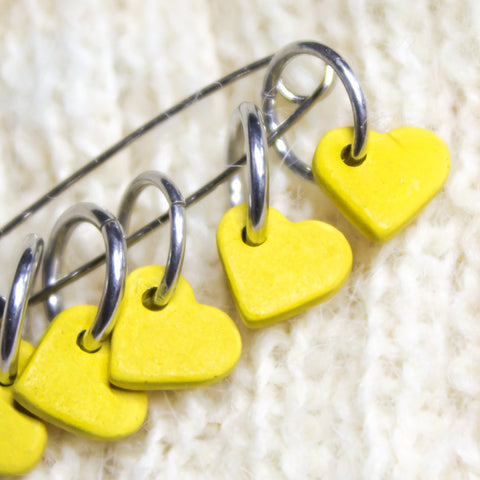 Snag free Yellow Heart Stitch Markers, crochet / Knitting Stitch marker