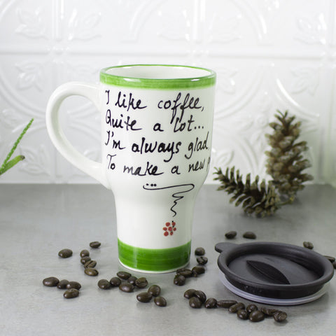 Ceramic Coffee Travel mug with handle, Love Poem Quote