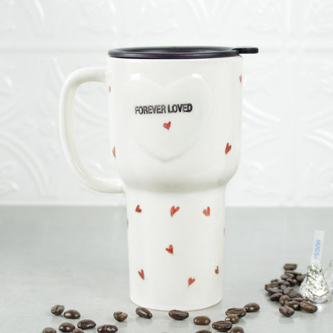 White Forever Loved Ceramic Coffee Travel mug with handle