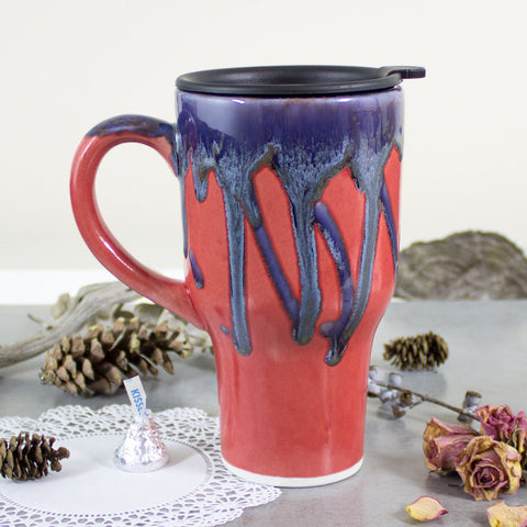 Autumn Red mug, Ceramic Coffee Travel mug with handle, To go coffee cup