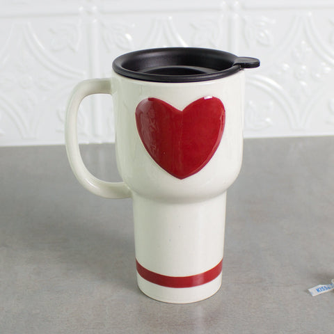 Travel Mug with Red Heart