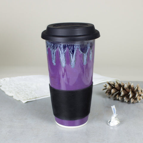 Amethyst Purple Travel Mug with Lid  Lavender To Go Mug with Silicone Lid handmade pottery