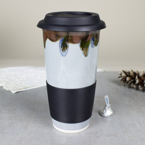 Grey Goldstone Travel Mug with Silicone Lid and optional sleeve