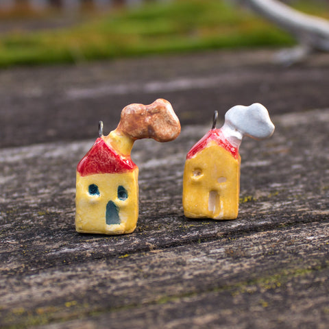 Ceramic Miniature House, honey yellow