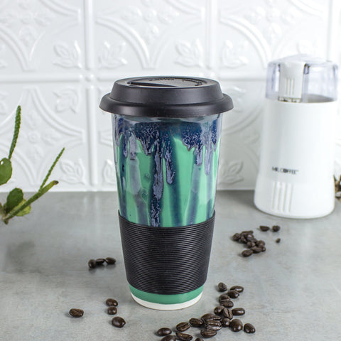 Travel Mug with with Silicone Lid handmade pottery Kitchen